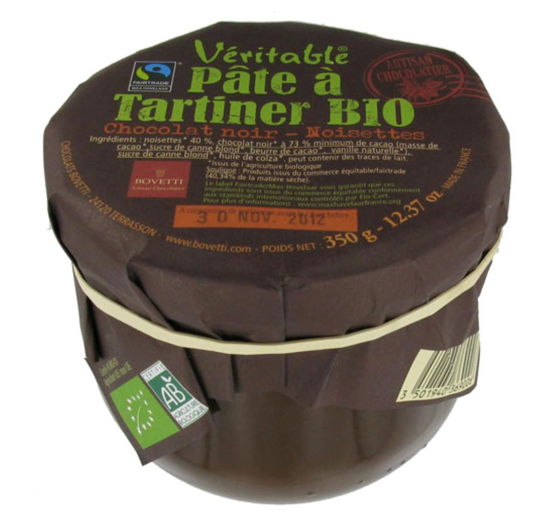 Pâte à tartiner bio chocolat noir Bovetti
