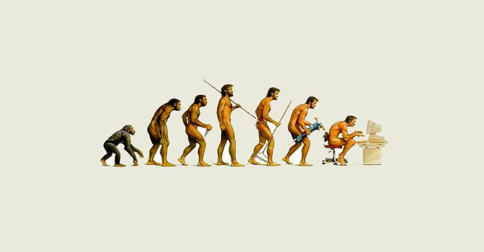 évolution de l'homme du stade de primate jusqu'à sa dépendance à l'ordinateur aujourd'hui